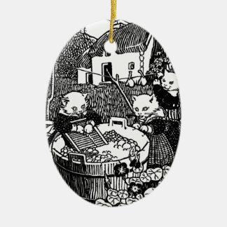 Kittens Washing Mittens Nursery Rhyme Ceramic Ornament