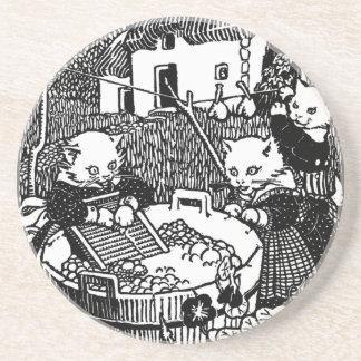 Kittens Washing Mittens Nursery Rhyme Drink Coasters