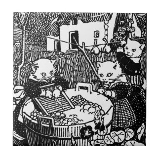 Kittens Washing Mittens Nursery Rhyme Tile