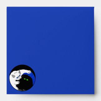 Kittens White Black Playing Blue Birthday Party Envelope