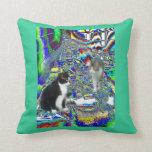 Kitties and Book piles Pop Art Throw Pillow