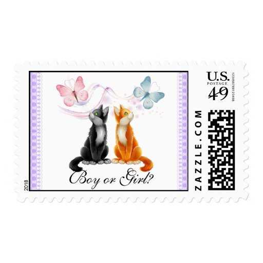 Kitties and Butterflies Baby Gender Reveal Party P Stamps