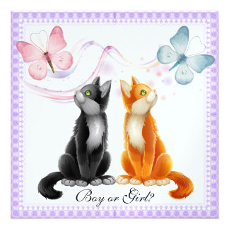 Kitties and Butterflies Gender Reveal Party Invita Announcements