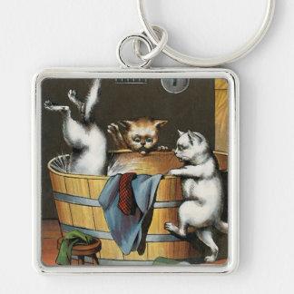 Kitties' Bath - Vintage Art Keychain