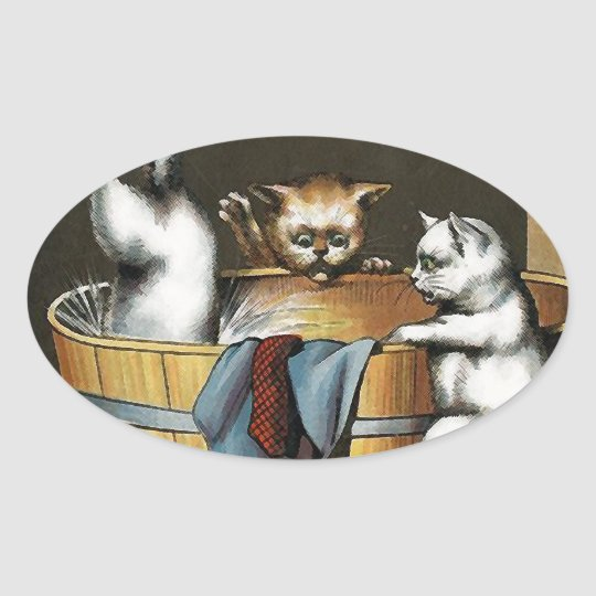 Kitties' Bath - Vintage Art Oval Sticker