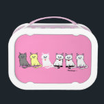"""Kitties In A Row Pink and White Lunch Box<br><div class=""""desc"""">PRLimages is a division of Paintings by Rachel Lowry.</div>"""