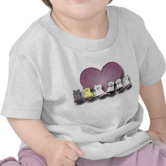Kitties In A Row Valentine Infant T-Shirt