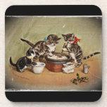 Kitties Making Christmas Pudding Beverage Coaster