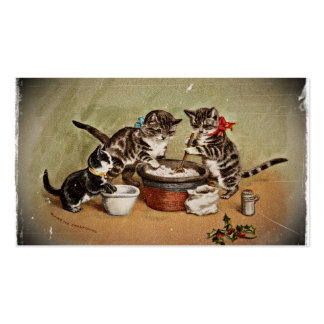 Kitties Making Christmas Pudding Double-Sided Standard Business Cards (Pack Of 100)