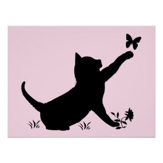 Kitties Playing with Butterflies in Silhouettes Poster