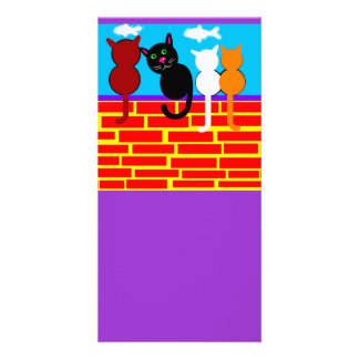Kitties Sitting on a Wall Designed Book Mark Picture Card