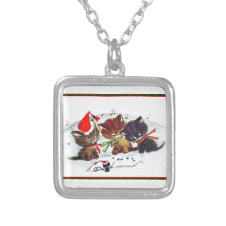 Kitties with Maestro Mouse Silver Plated Necklace