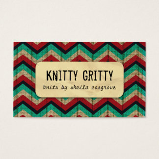 Kitting Crochet Chevron Red Teal Business Card