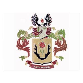 Kittinger Family Coat of Arms (Family Crest) Postcard