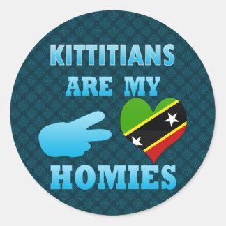 Kittitians es mi Homies Pegatina Redonda