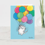 "KITTY ALOFT Birthday Card<br><div class=""desc"">A cheerful cat with a large bunch of balloons brings birthday greetings.</div>"