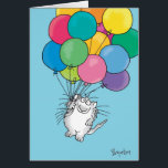 """KITTY ALOFT Birthday Card<br><div class=""""desc"""">A cheerful cat with a large bunch of balloons brings birthday greetings.</div>"""