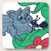 kitty and ant beverage coaster