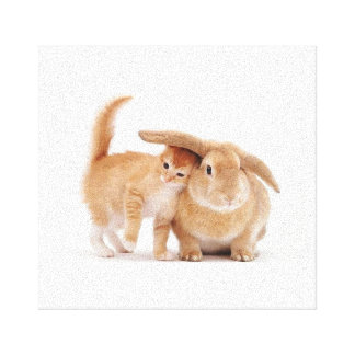 Kitty and Bunny Love Canvas Canvas Print