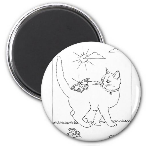 Kitty and Butterfly Line Drawing 2 Inch Round Magnet