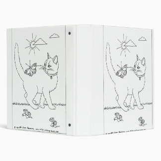 Kitty and Butterfly Line Drawing Binder