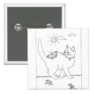 Kitty and Butterfly Line Drawing Pinback Buttons