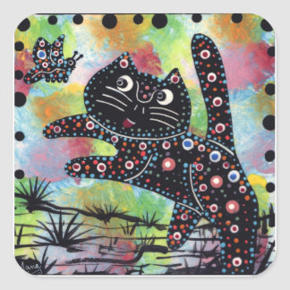 Kitty and butterfly square sticker