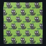 """Kitty and Cucumber Illustration Bandana<br><div class=""""desc"""">A cute baby tabby cat looking on a cucumber that is lying on the floor. He is trying to check with his paw what a strange green and long creature it is. A simple design of a scene with a kitty meeting a mysterious object,  for every cat lover.</div>"""