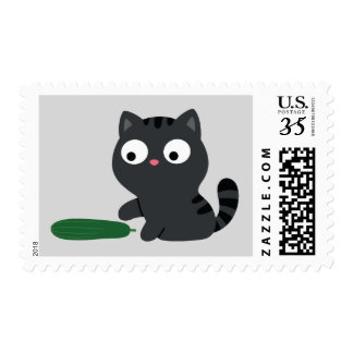 Kitty And Cucumber Illustration Postage