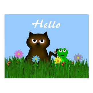 Kitty and Frog Hello Postcard