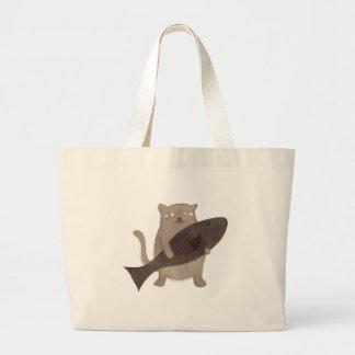 Kitty and His Fish Bag