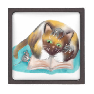Kitty and Mice are Bookworms Jewelry Box
