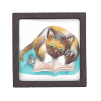 Kitty and Mice are Bookworms Keepsake Box