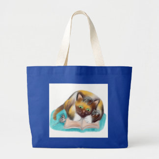 Kitty and Mice are Bookworms Large Tote Bag
