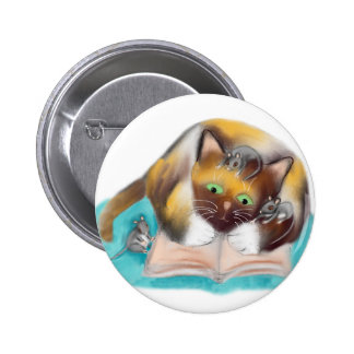 Kitty and Mice are Bookworms Pinback Button
