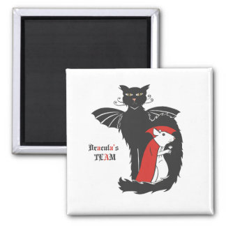 Kitty and mouse vampires 2 inch square magnet