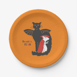 Kitty and mouse vampires paper plate