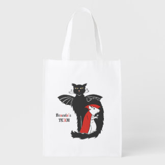 Kitty and mouse vampires reusable grocery bags