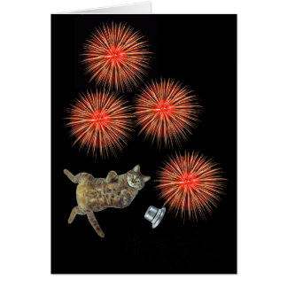 """Kitty and New Year firecrackers"""" Card"""