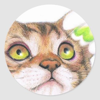 kitty and snow-drop classic round sticker
