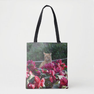 Kitty and the Flowers Tote Bag