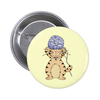 Kitty and Yarn Ball 2 Inch Round Button