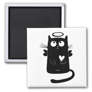 Kitty Angel 2 Inch Square Magnet