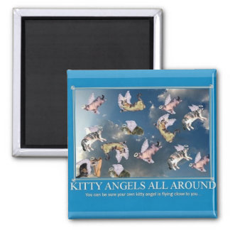 Kitty Angels all around 2 Inch Square Magnet