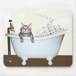 Kitty bath time mouse pad