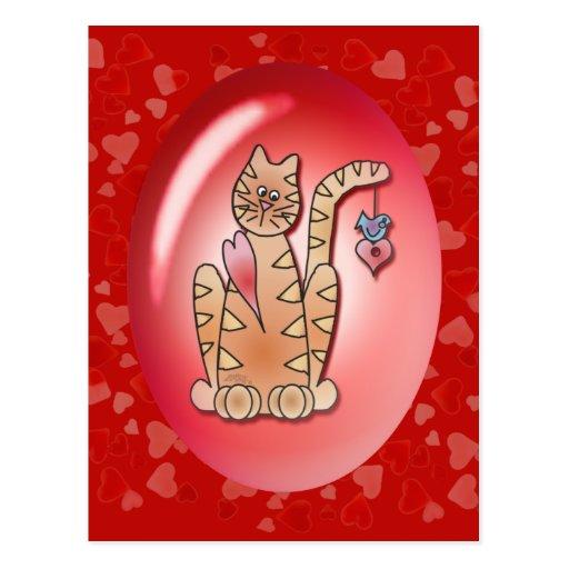 KITTY, BIRD & HEARTS by SHARON SHARPE Post Card