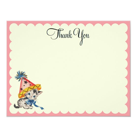 Kitty Birthday  |   Flat Thank You Notes Card