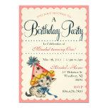 Kitty Birthday Party   Retro Birthday Invitations