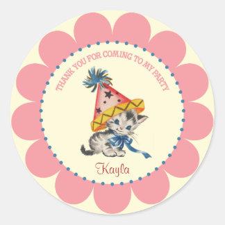 Kitty Birthday Party  |  Retro Favor Stickers