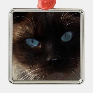 Kitty Blue Eyes Metal Ornament